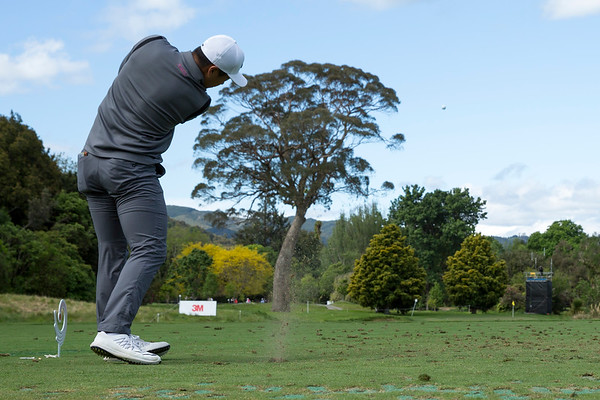 Andy Zhang from China tees off on the par three 8th hole on Day 2 of the Asia-Pacific Amateur Championship tournament 2017 held at Royal Wellington Golf Club, in Heretaunga, Upper Hutt, New Zealand from 26 - 29 October 2017. Copyright John Mathews 2017.   www.megasportmedia.co.nz