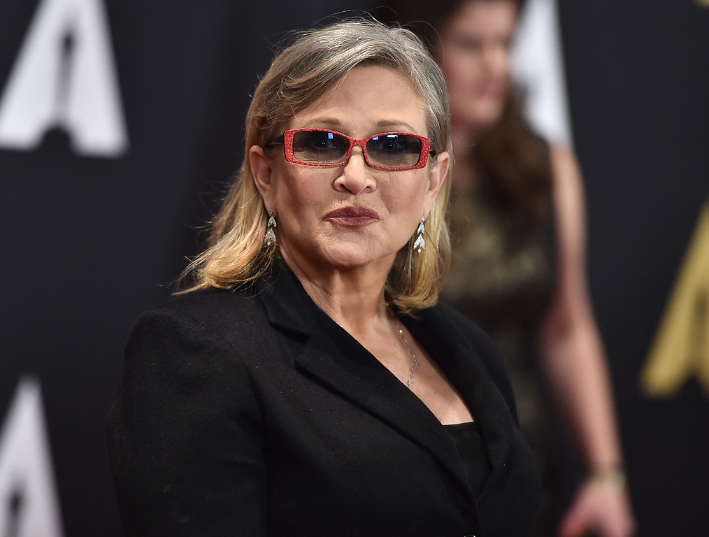 . Carrie Fisher arrives at the Governors Awards at the Dolby Ballroom on Saturday, Nov. 14, 2015, in Los Angeles. (Photo by Jordan Strauss/Invision/AP)