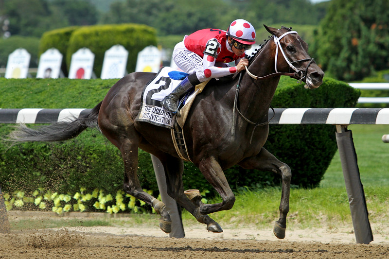 Midnight Bisou (Midnight Lute) and jockey Mike Smith win the Ogden Phipps (Gr I) at Belmont Park 6/8/19. Trainer: Steve Asmussen. Owner: Bloom Racing Stable LLC, Madaket Stables LLC, & Allen Racing LLC