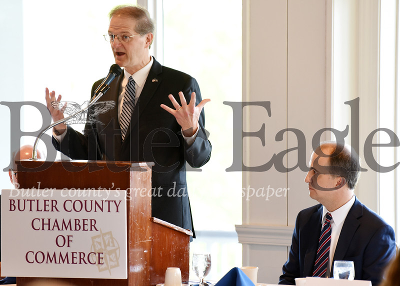 Harold Aughton/Butler Eagle: Senator Scott Hutchinson speaks at the Legislative Breakfast while Thomas Genevro of the Butler Health System listens. The event was held at the Butler Country Club, Friday morning, May 17.