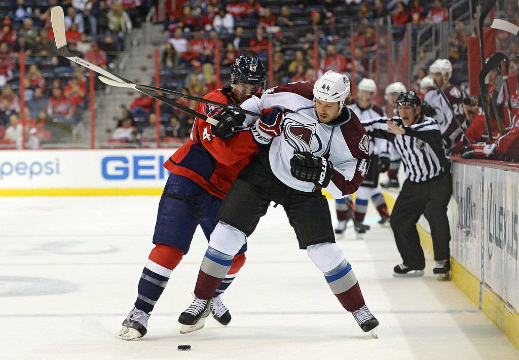. WASHINGTON, DC - OCTOBER 12: Ryan Wilson #44 of the Colorado Avalanche and Tom Wilson #43 of the Washington Capitals battle for the puck in the third period at Verizon Center on October 12, 2013 in Washington, DC. The Colorado Avalanche won, 5-1. (Photo by Patrick Smith/Getty Images)