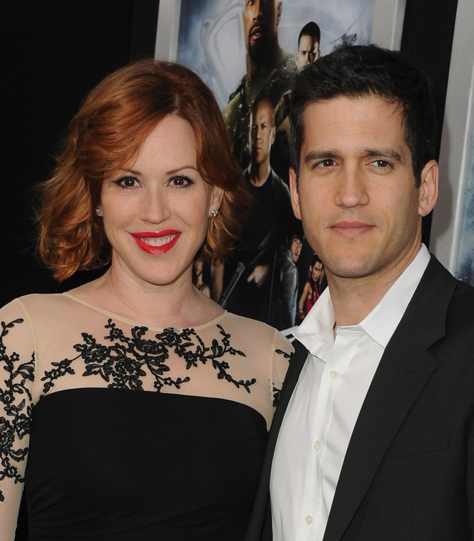 ". Actress Molly Ringwald and husband/actor Panio Gianopoulos attend the premiere of Paramount Pictures\' ""G.I. Joe:Retaliation\"" at TCL Chinese Theatre on March 28, 2013 in Hollywood, California.  (Photo by Kevin Winter/Getty Images)"