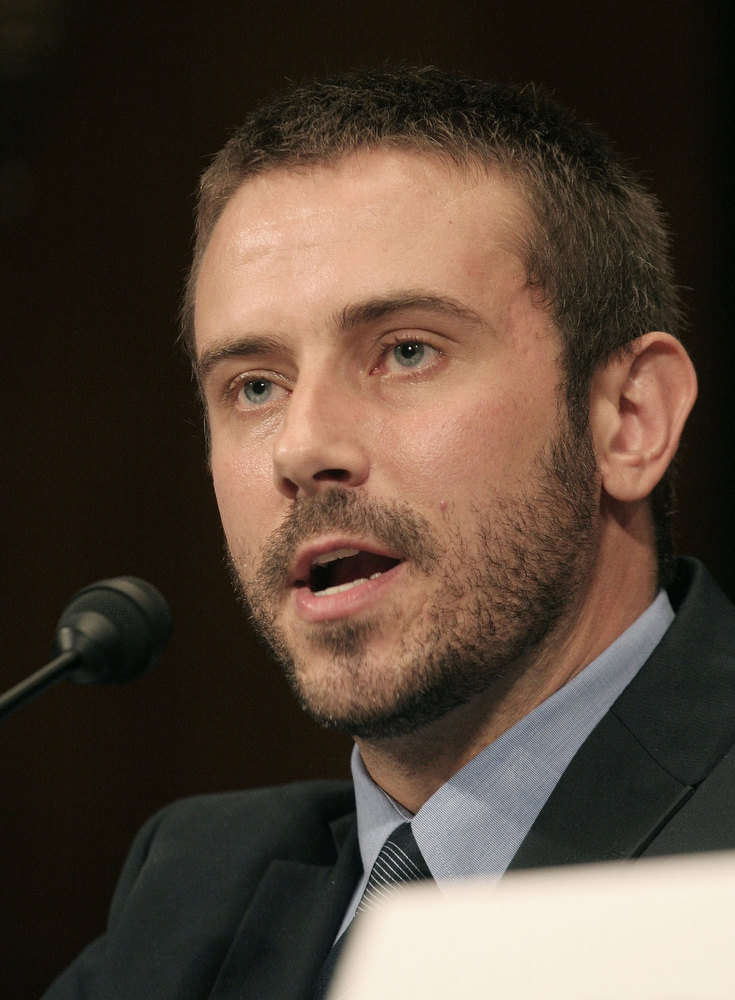 ". Jeremy Scahill, author of Blackwater: The Rise of the World\'s Most Powerful Mercenary Army, delivers testimony to the Senate Democratic Policy Committee during a hearing entitled ""Abuses in Private Security and Reconstruction Contracting in Iraq: Ensuring Accountability, Protecting Whistleblowers,\"" Friday, September 21, 2007 on Capitol Hill in Washington. (AP Photo/Lauren Victoria Burke)"
