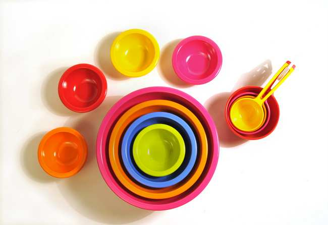 . Dishwasher safe colorful bowls and measuring cups made by Zak Designs are for perfect for a variety of kitchen needs. Small bowls on the outside are part of their Mini Bowl set, center nesting  bowls are perfect for mixing and the measuring cups range in size from 1/4 of a cup to 1 cup. (Pioneer Press: Ginger Pinson)