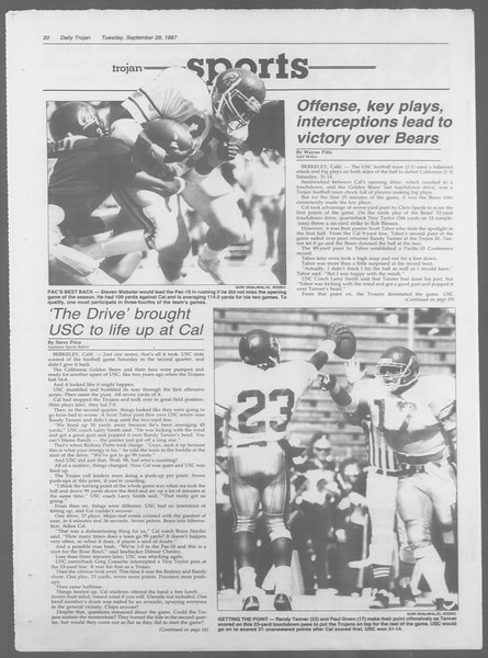 Daily Trojan, Vol. 105, No. 18, September 29, 1987
