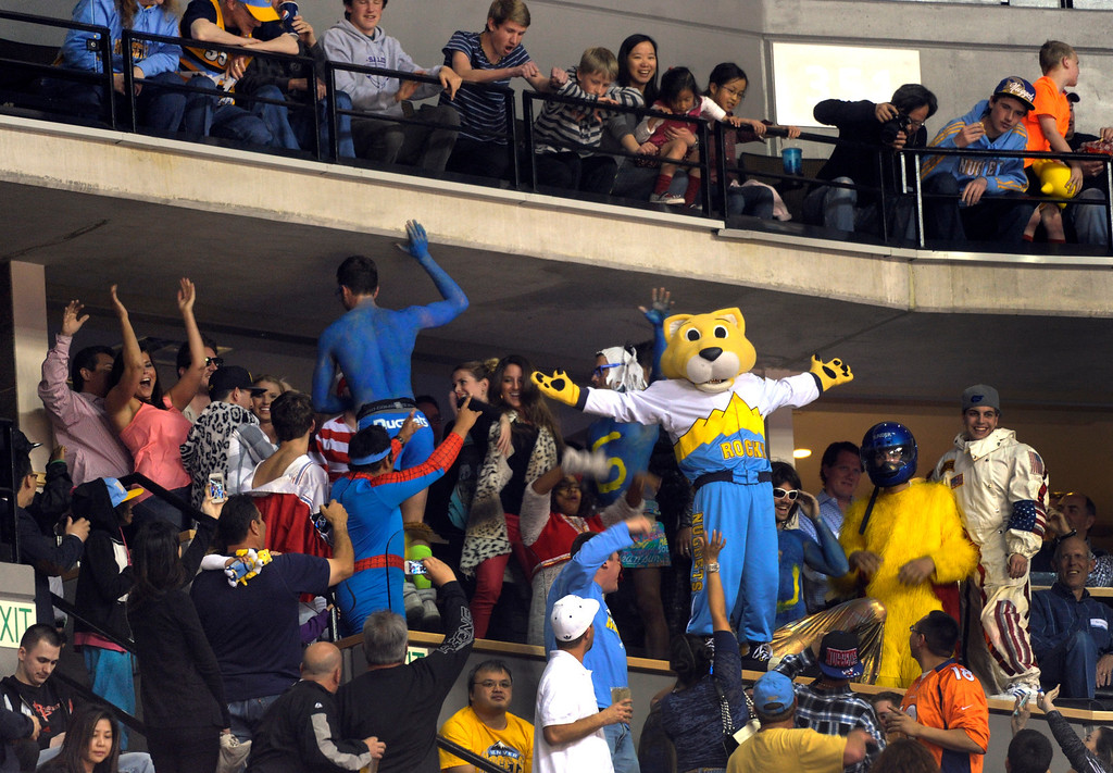 . DENVER, CO. - APRIL 6: Nuggets mascot Rocky wowed the crowd Saturday night. The Denver Nuggets defeated the Houston Rockets 132-114 at the Pepsi Center Saturday night, April 6, 2013. Photo By Karl Gehring/The Denver Post)