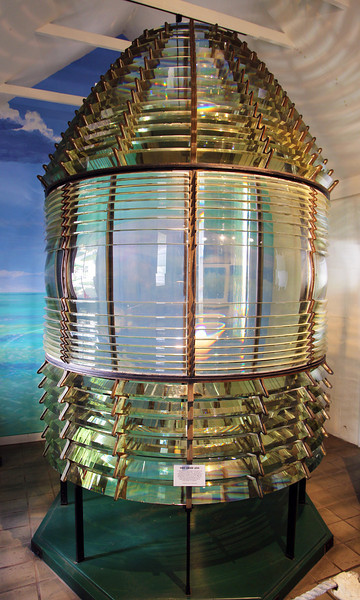 An 1858 first order lens.  This cost $20,000 at the time, and it stands 12 feet tall.