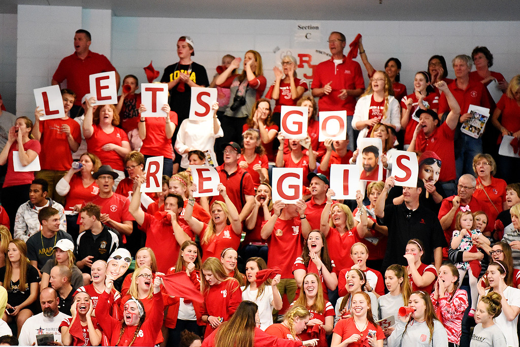 . Regis Jesuit High School fans cheer on their girls at the 5A State Swim meet held at Edora Pool Ice Center on Saturday. (Photo by Kira Horvath/ The Denver Post)