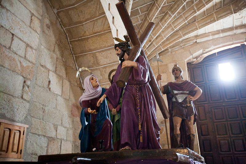 Float with Holy Week figures, San Pedro church, Garrovillas, Caceres, Spain