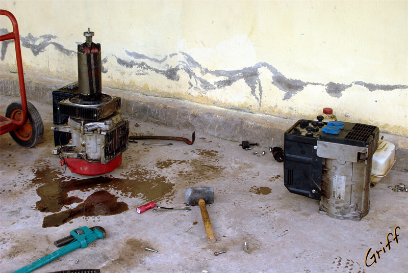 Partially disassembled generator.