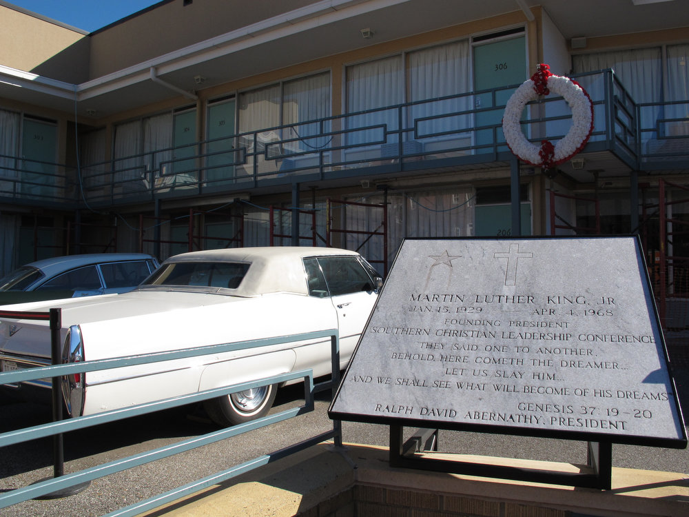 . A placard and a wreath mark the spot where Martin Luther King Jr. was fatally shot at the old Lorraine Motel on Monday, Jan. 21, 2013 in Memphis, Tenn. The motel is now the site of the National Civil Rights Museum, which hosted several events to celebrate Martin Luther King. Jr. Day. (AP Photo/Adrian Sainz)