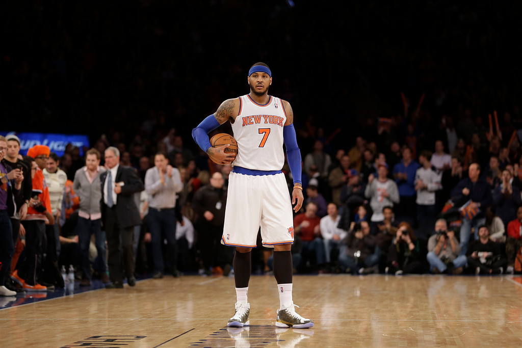 . New York Knicks\' Carmelo Anthony holds the ball at the second half of the NBA basketball game against the Los Angeles Lakers at Madison Square Garden Sunday, Jan. 26, 2014, in New York. The Knicks defeated the Lakers 110-103. (AP Photo/Seth Wenig)