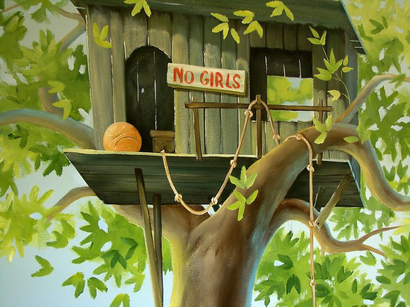 detail of 'tree house' mural for boys room