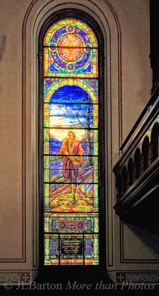 The Sower 2011-05-10  One of the four Tiffany stained glass windows at the Old Stone Church in Cleveland, Ohio.  Best viewed in X3
