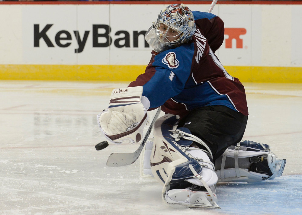 . DENVER, CO. - JANUARY 24: Colorado Avalanche goalie Semyon Varlamov (1) makes a save during the second period against the Columbus Blue Jackets January 24, 2013 at Pepsi Center. The Colorado Avalanche take on the Columbus Blue Jackets in NHL action. (Photo By John Leyba / The Denver Post)