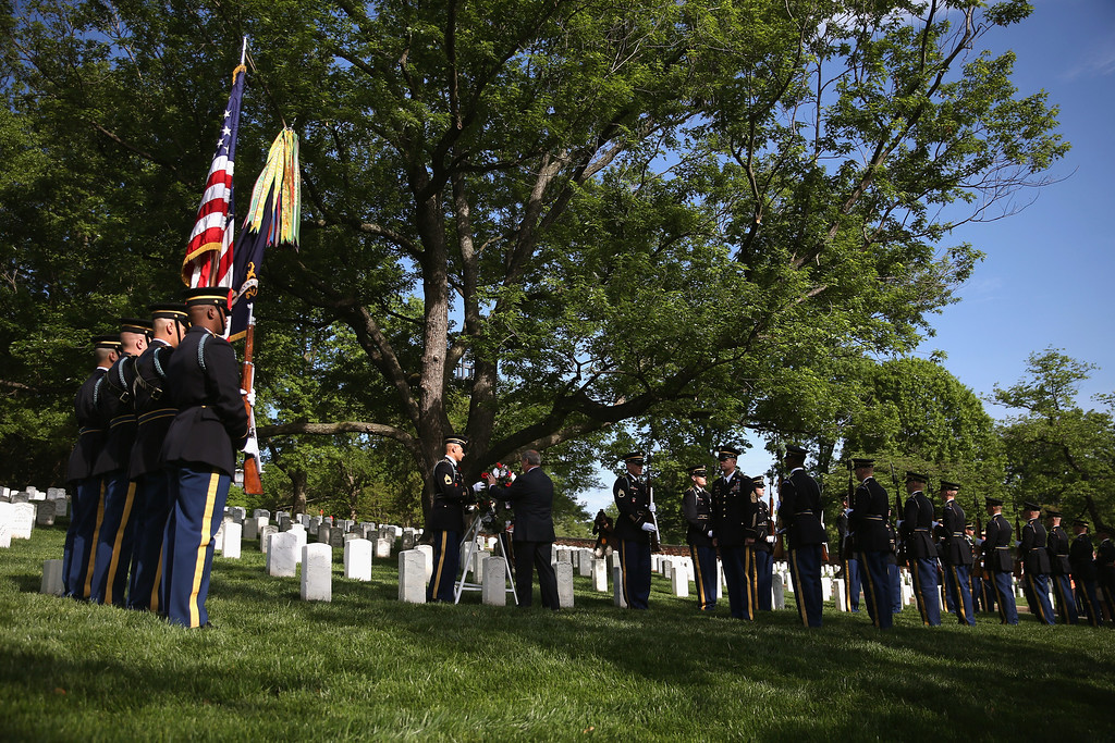 . Jack Lechner, Administrator at Arlington National Cemetery lays a wreath at the grave of Army Pvt. William Christman, as part of Arlington at 150 Celebration on May 13, 2014 in Washington, DC.   (Photo by Mark Wilson/Getty Images)