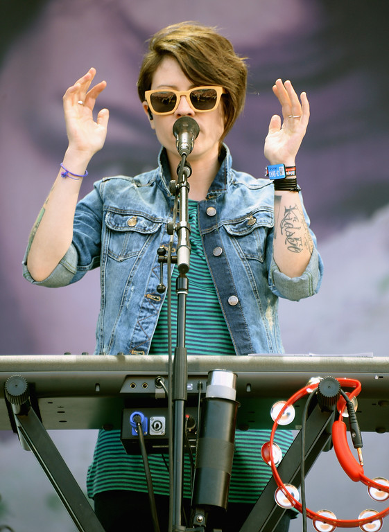 . Tegan Rain Quin of Tegan and Sara performs during Lollapalooza 2013 at Grant Park on August 4, 2013 in Chicago, Illinois.  (Photo by Theo Wargo/Getty Images)