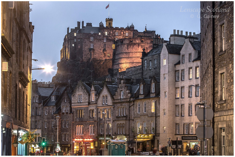 Edinburgh Castle and Grassmarket from Cowgatehead