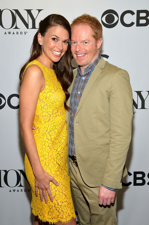 . Actors Sutton Foster and Jesse Tyler Ferguson during the 2013 Tony Awards Nominations Ceremony at The New York Public Library for Performing Arts on April 30, 2013 in New York City.  (Photo by Mike Coppola/Getty Images for Tony Award Productions)