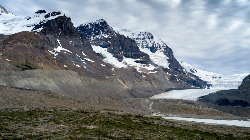 Mountains and glacier, Columbia Icefields, Icefields Parkway, Jasper, Alberta, Canada
