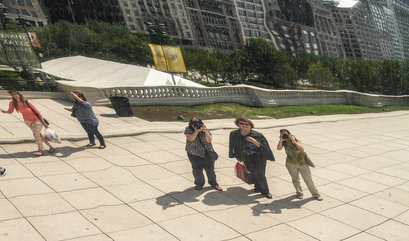 Paula, Pat and Joanne reflected in The Bean