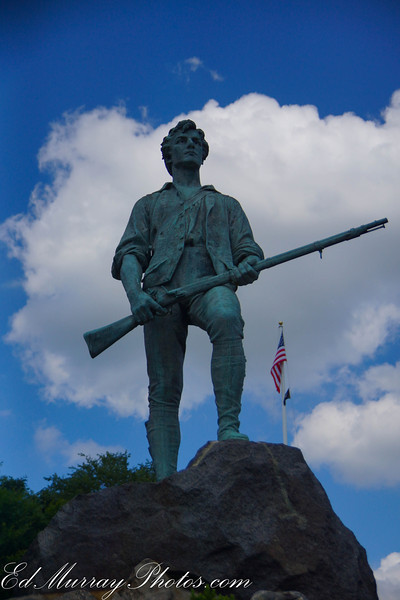 Minuteman: The Minuteman Statue on Battle Green in Lexington, MA. OH - as for yesterday's plane shot. A few of you asked where I was when I took that shot. I was on a boat in Boston harbor at the end of the runway.