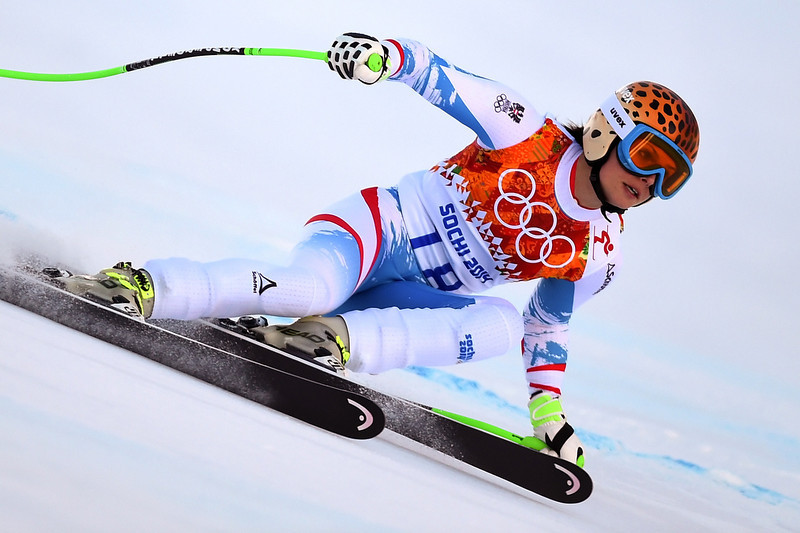. Austria\'s Anna Fenninger competes during the Women\'s Alpine Skiing Super-G at the Rosa Khutor Alpine Center during the Sochi Winter Olympics on February 15, 2014.   (FABRICE COFFRINI/AFP/Getty Images)