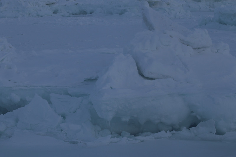 Ice chunks on from the helicopter