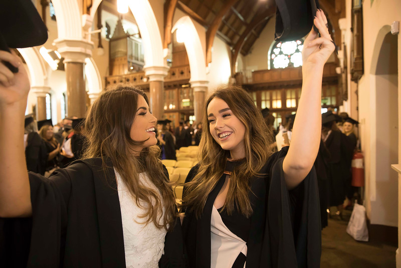 02/11/2016. Waterford Institute of Technology (WIT) Conferring Ceremonies November 2016. Pictured are Catherine O'Brien, Dublin and Annie Byrne, Enniscorthy who Graduated B.A. (Hons) in applied Social Studies in Social Care. Picture: Patrick Browne.