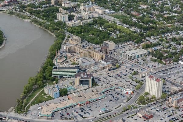 DAVID LIPNOWSKI / WINNIPEG FREE PRESS  St. Boniface Hospital  Aerial photography over Winnipeg May 18, 2016 shot from STARS helicopter.