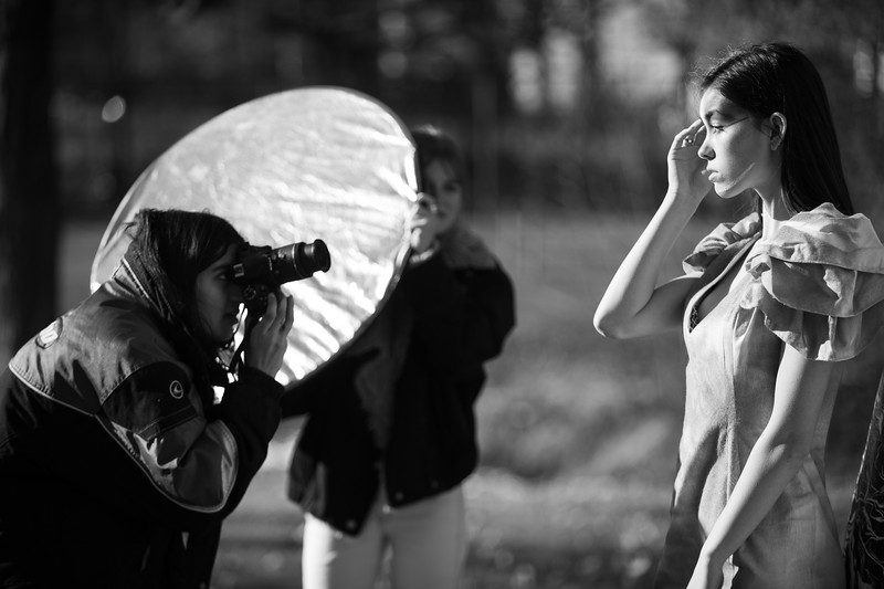 Aanya had help to have the best light by the help of the Emily holding the reflector.