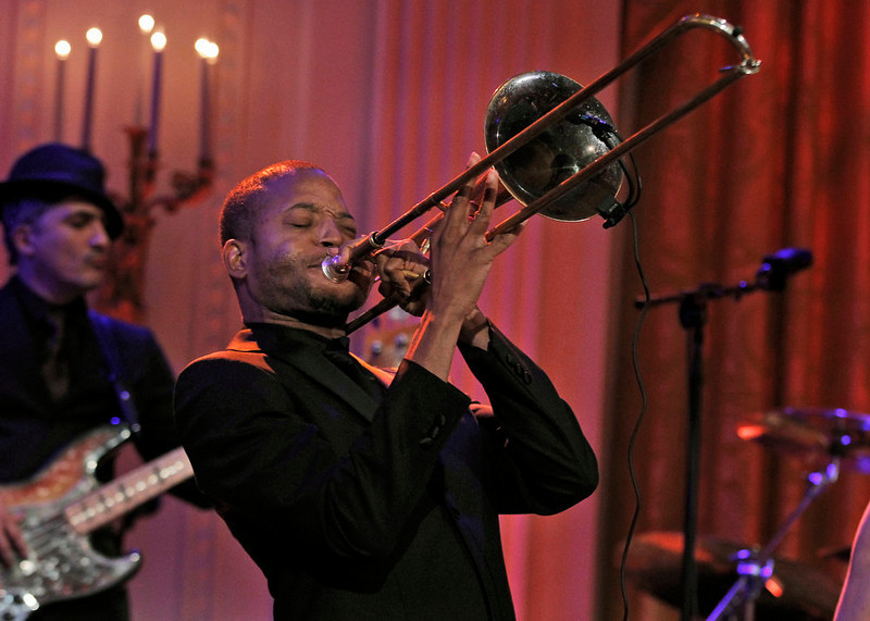 ". Troy ""Trombone Shorty\"" Andrews, performs during the White House Music Series saluting Blues Music in recognition of Black History Month, Tuesday, Feb. 21, 2012, in the East Room of the White House in Washington. (AP Photo/Pablo Martinez Monsivais)"
