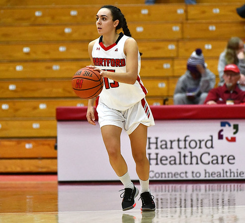 12/21/2019 Mike Orazzi | StaffrThe University of Hartford's Irene Primo (15) during Saturday's women's basketball game with CCSU in West Hartford.