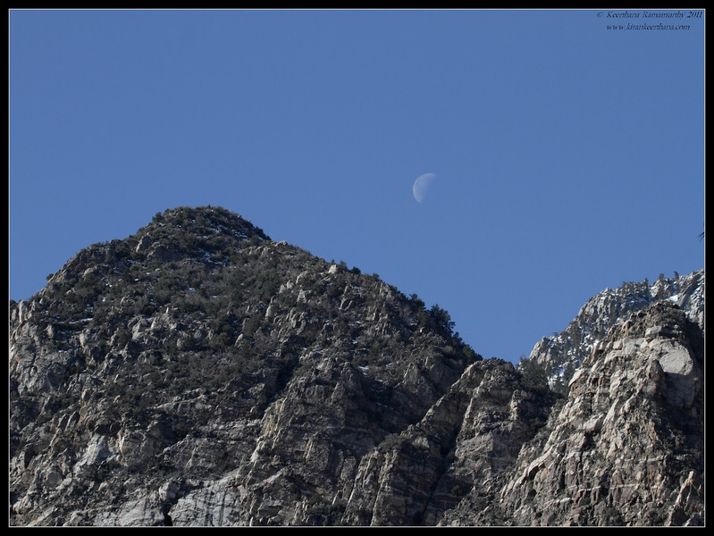 Moon over the mountains of Mt. San Jacinto State Park, Palm Springs, California, March 2011
