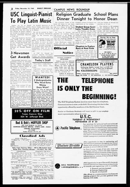 Daily Trojan, Vol. 52, No. 45, November 18, 1960