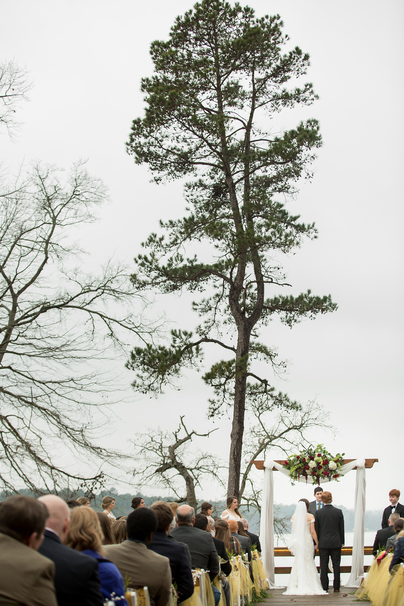 A large pine tree behind an altar and wedding arch