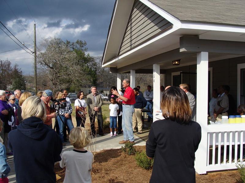 08 CFCP - Millard Fuller speaks at dedication of     house. lcf