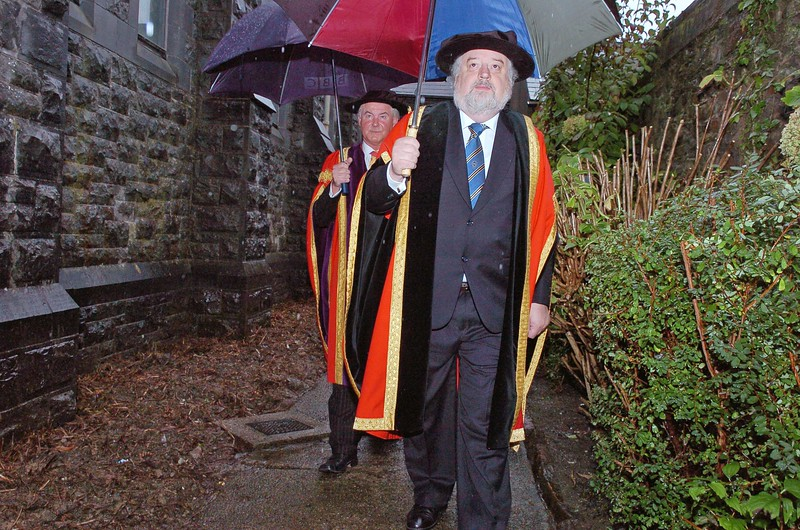 Provision 251006 Prof. Kieran Byrne (Director WIT) and Councillor Jack Walsh (Deputy Chairman) making their way to the graduation hall at WIT on Wednesday 25th October. PIC Bernie Keating/Provision