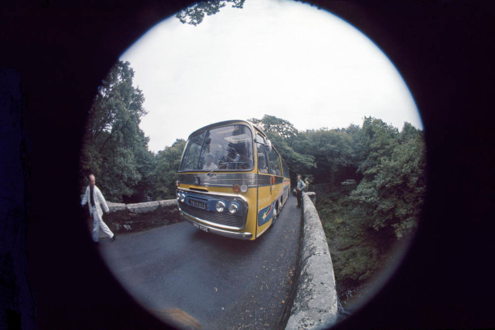 . The Magical Mystery Tour coach. On location in the West Country, England. September 1967. credit © Apple Films Ltd. Magical Mystery Tour