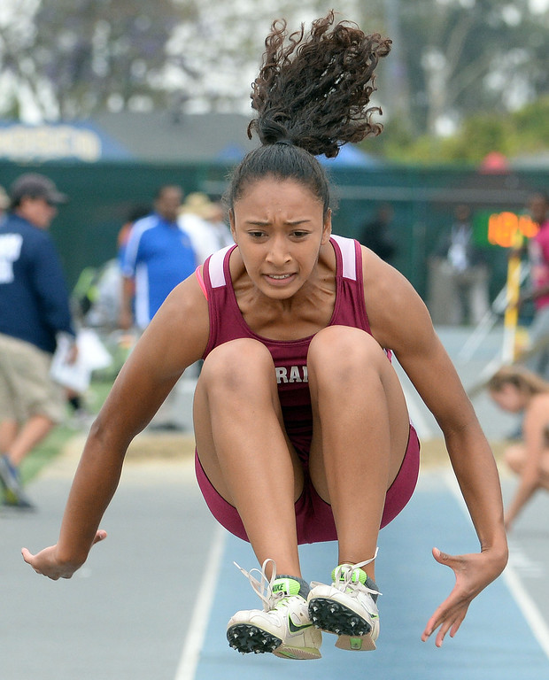 . Torrance\'s Tyra Jackson competes in the Division 2 long jump during the CIF Southern Section track and final Championships at Cerritos College in Norwalk, Calif., Saturday, May 24, 2014.   (Keith Birmingham/Pasadena Star-News)