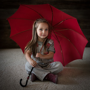 Gia Overalls and Red Umbrella