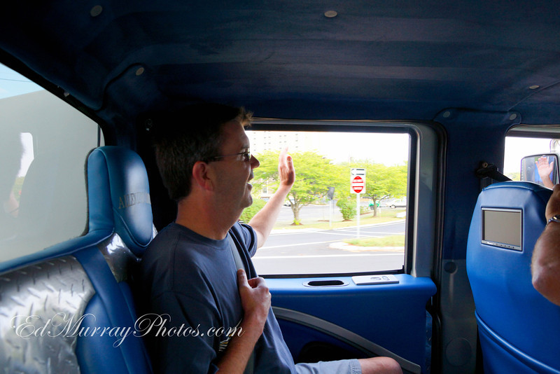 Bob Clough waving to his adoring fans....