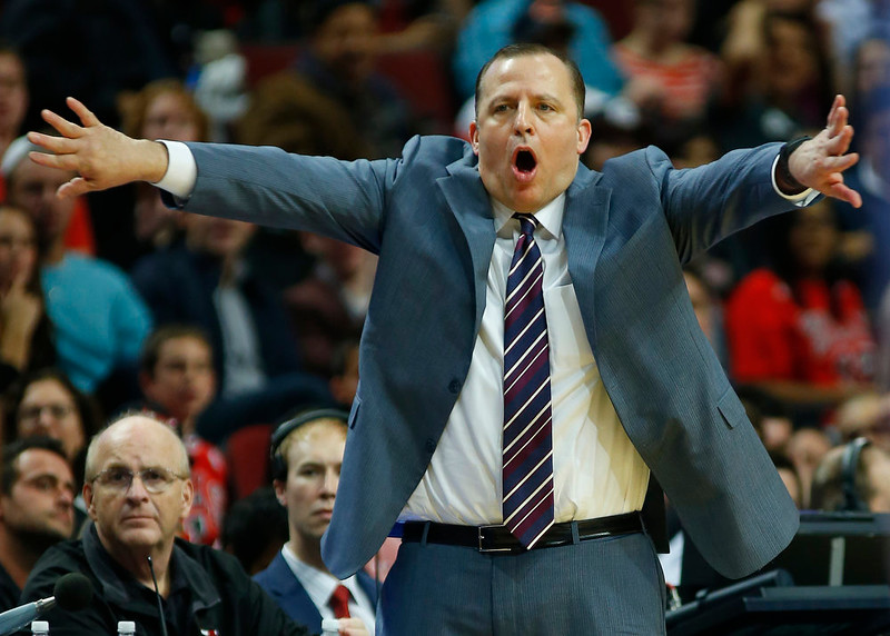 . Chicago Bulls head coach Tom Thibodeau yells at his team during the second half of a pre-season NBA basketball game against the Denver Nuggets in Chicago, on Monday Oct. 13, 2014. The Bulls won the game 110-90. (AP Photo/Jeff Haynes)