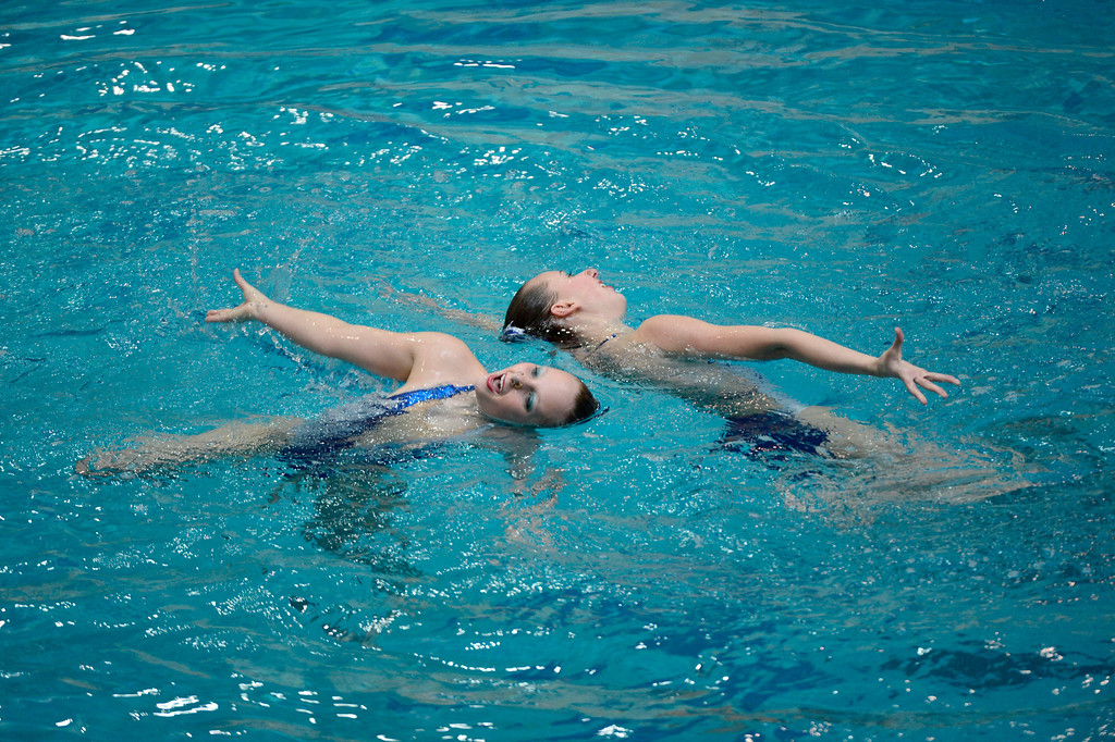 . THORNTON, CO. - MARCH 10: Indy Synchro  duet team Alexa Aton Nad Alyssa Hoyling perform during the duet free at The Rocky Mountain Synchronized Swimming North Zones Championships  March 10, 2013 at Veterans Memorial Aquatic Center. (Photo By John Leyba/The Denver Post)