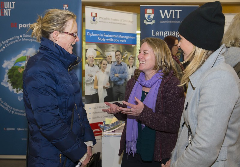 23/02/2016. Free To Use Image. Pictured at WIT (Waterford Institute Of Technology) Adult Learner Information Evening are Deirdre Dillon, Tramore, Siobhan Fogarity WIT and Aoife Dillon, Tramore. Picture: Patrick Browne