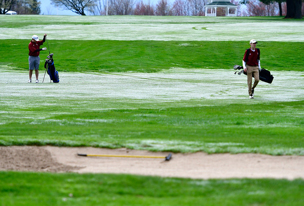 4/30/2019 Mike Orazzi | Staff Bristol Central's Austin Salzillo and Richard Aubin during Tuesday's match with Bristol Eastern at Chippanee Golf Club.