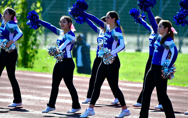10/5/2019 Mike Orazzi | StaffrBristol Eastern High School Cheerleaders during Saturday's football game with Hartford Public in Hartford.