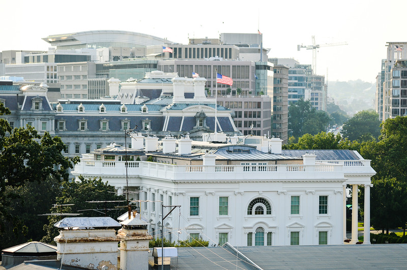 View of the White House Roof from the rooftop bar at the W Hotel