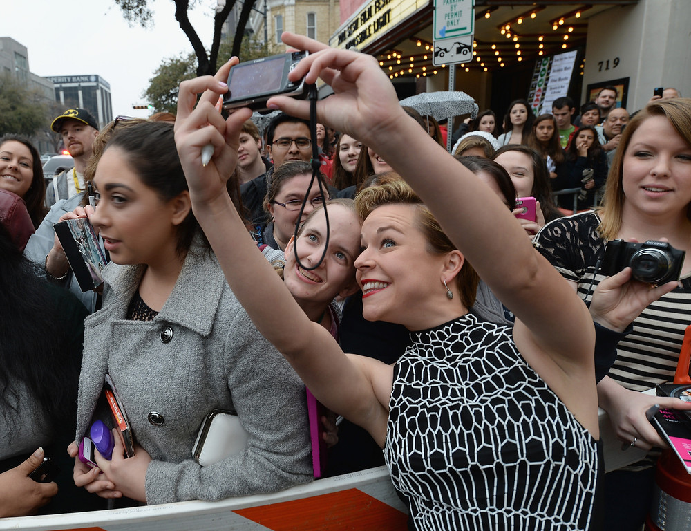 """. Actress Tina Majorino arrives at the premiere of \""""Veronica Mars\"""" during the 2014 SXSW Music, Film + Interactive Festival at the Paramount Theatre on March 8, 2014 in Austin, Texas.  (Photo by Michael Buckner/Getty Images for SXSW)"""