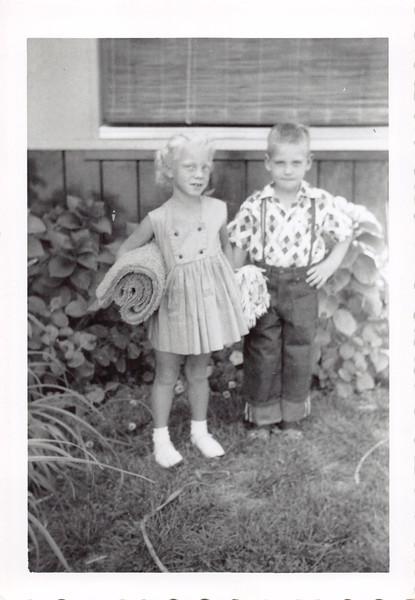 Sept 1955, first day of school. Jana Warkentine and Jim Bloom